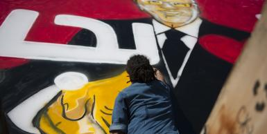 جرافيتي لمرشح الرئاسة الباجي قائد السبسي بالعاصمة تونس
